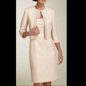 New Tahari sheath dress and jacket ivory gold 10